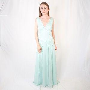 CAROLINA HERRERA Chiffon Gown Seafoam NWOT 8